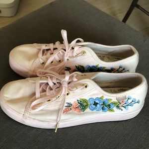Sz 6 keds x rifle paper pink embroidered sneakers